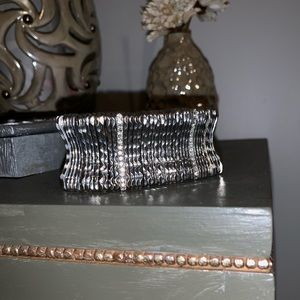 Express Silver w/ Crystal Diamond Rows Bracelet